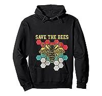 Save The Bees Vintage Retro Beekeeping Beekeeper Gift Shirts Hoodie Black