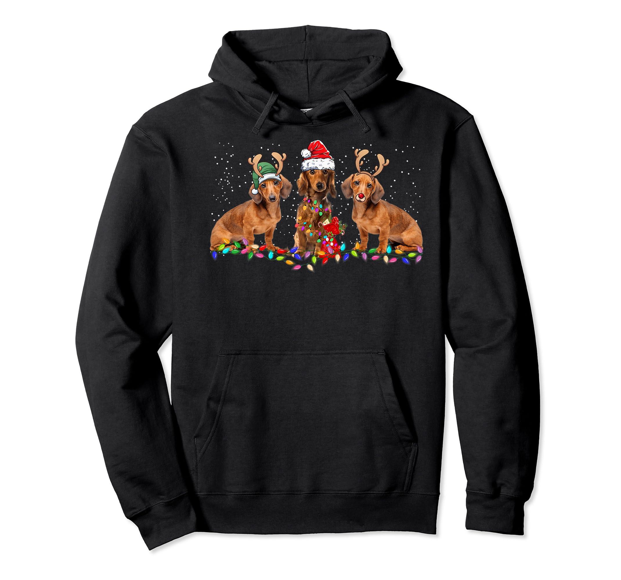 Three Dachshund Dogs Christmas Santa Hat Lights Xmas Gift Premium T-Shirt-Hoodie-Black