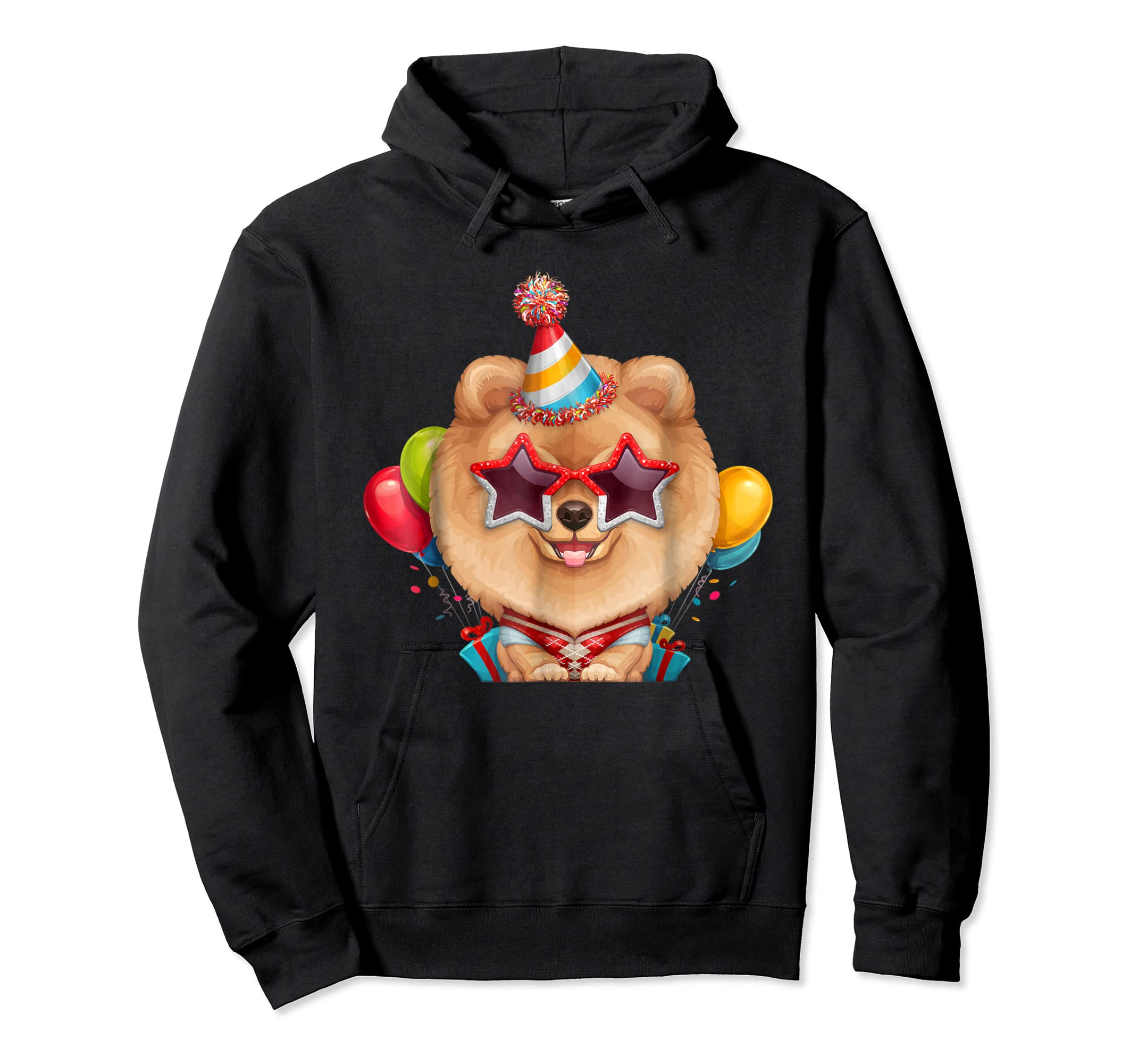 Orange Pomeranian in Glasses Birthday T-Shirt-Hoodie-Black