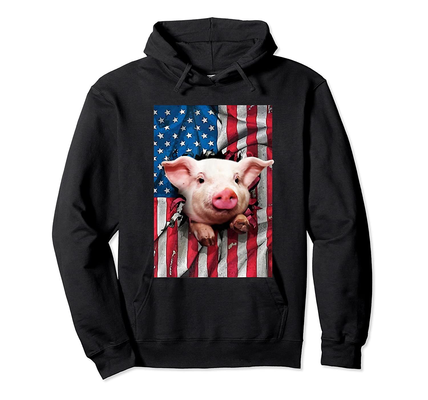 Pig American Flag Gift Funny 4th Of July America Shirts Unisex Pullover Hoodie