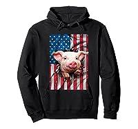 Pig American Flag Gift Funny 4th Of July America Shirts Hoodie Black