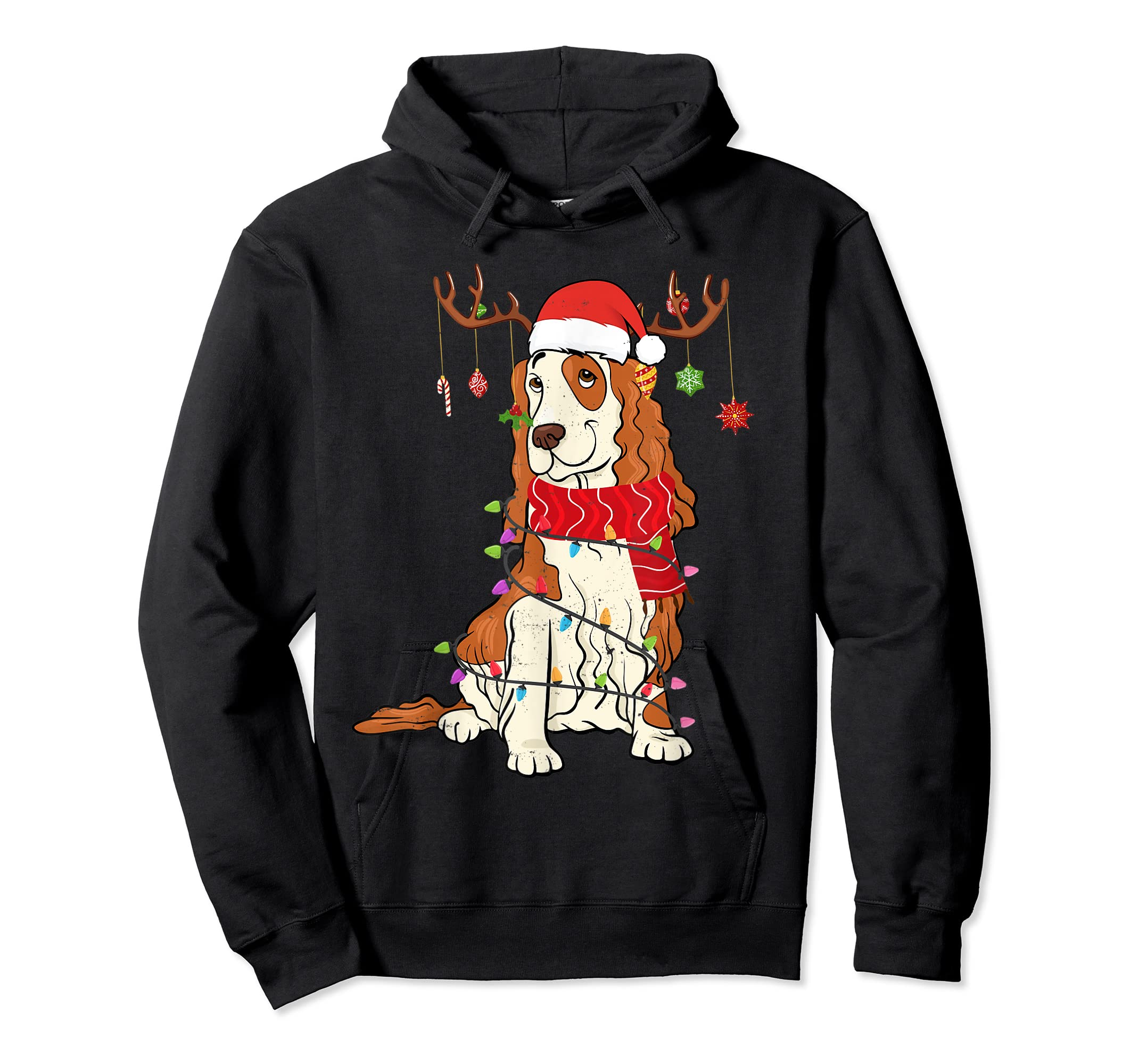 Funny Cocker Spaniel Christmas Reindeer Lights Xmas Dog T-Shirt-Hoodie-Black