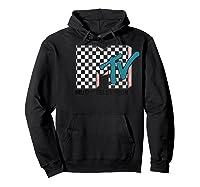 Mtv Checkered Logo Pink Shadow Turquoise Tv Graphic T-shirt Hoodie Black