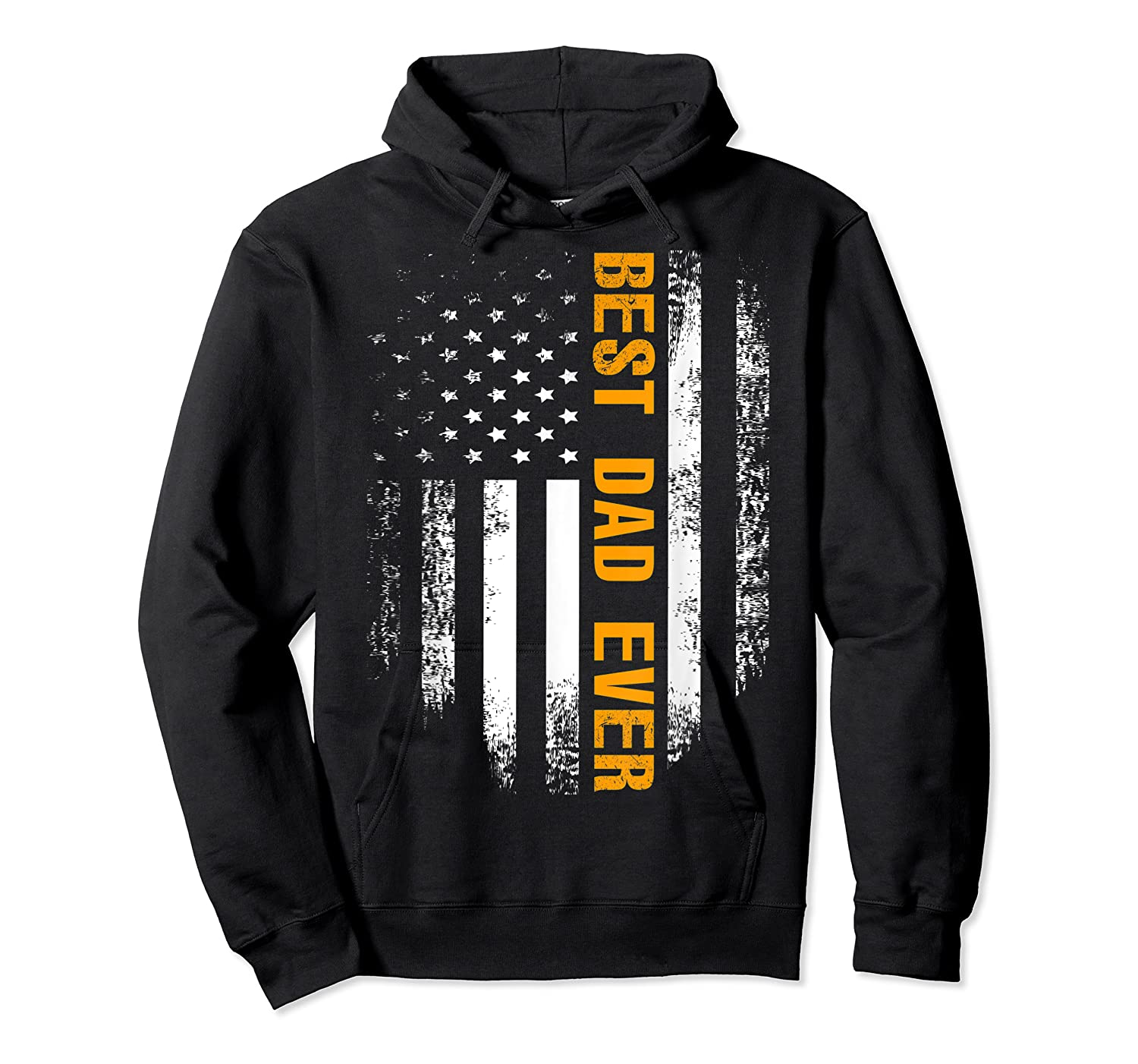 Vintage Best Dad Ever Shirt American Flag Father's Day Gift Unisex Pullover Hoodie