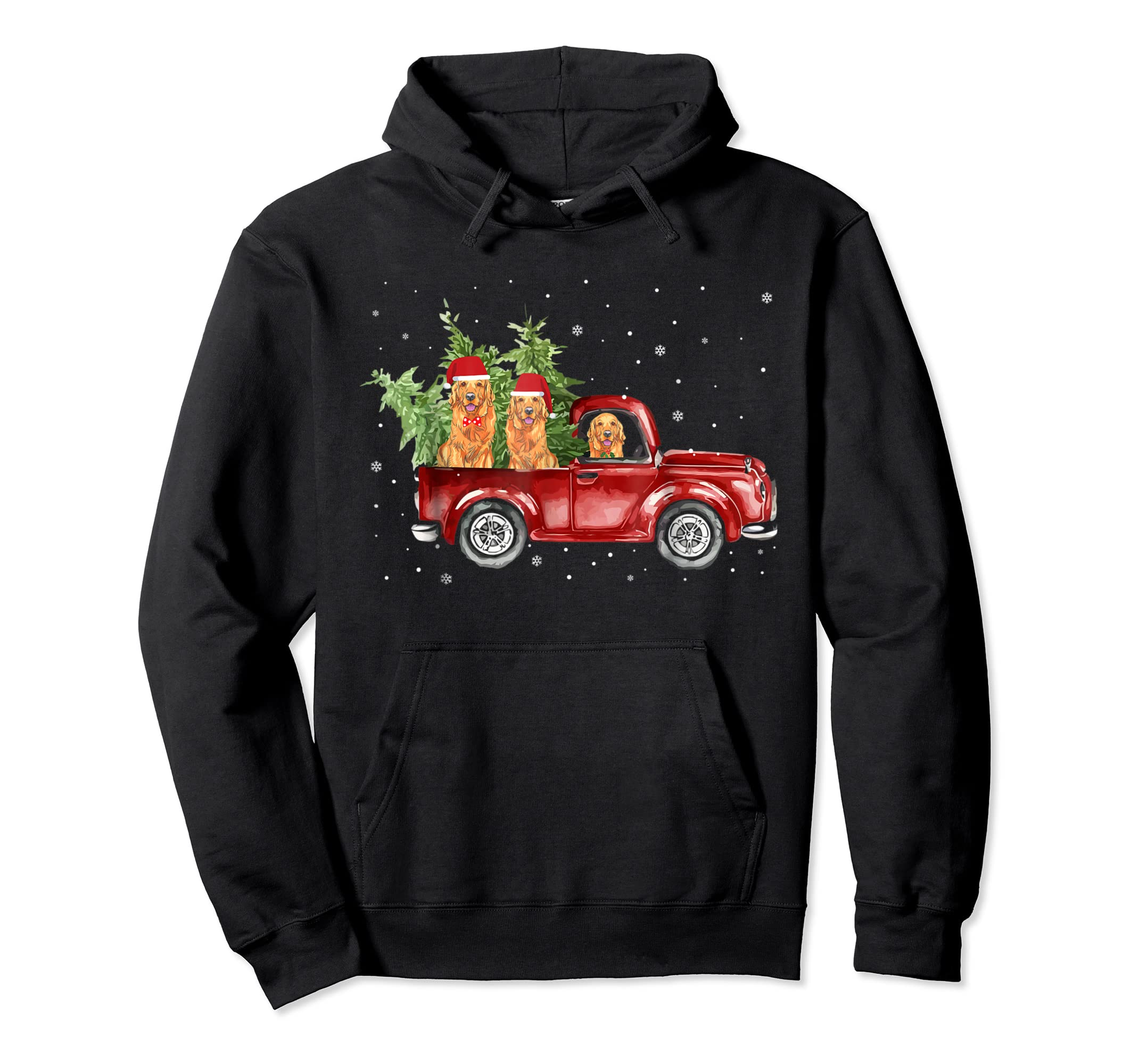 Golden Retriever Pickup Truck Christmas Tshirt-Hoodie-Black
