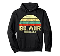Blair Ne Nebraska Vintage Retro Sunset Tee T Shirt Hoodie Black
