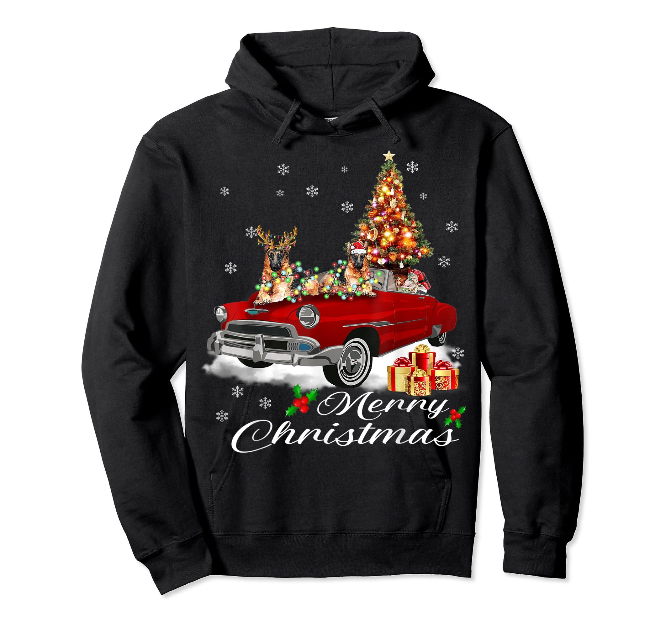 German Shepherd on Red Truck Christmas Pajama Dog Lover Gift T-Shirt-Hoodie-Black