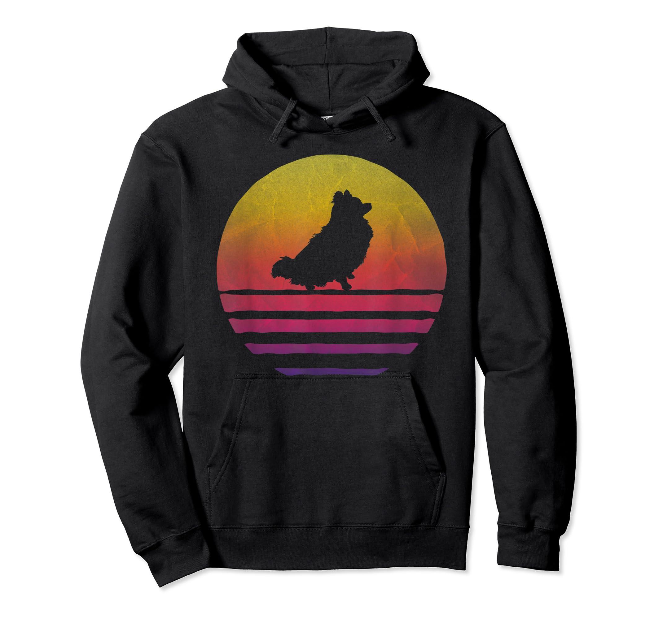 Retro Vintage Sunset Pomeranian Dog Lover Silhouette Gift T-Shirt-Hoodie-Black