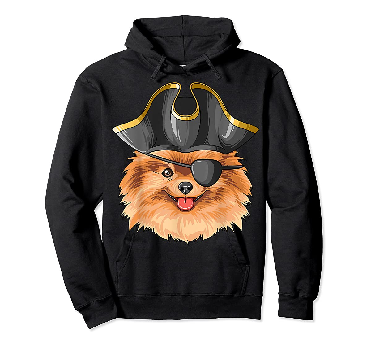 Pirate Pomeranian Pirates Hat Pomeranian T-Shirt-Hoodie-Black