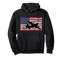 Patriotic C-130 Hercules Airplane American Flag T-shirt Hoodie Black