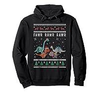 Dino Ugly Christmas Sweater Xmas Dinosaur Shirts Hoodie Black