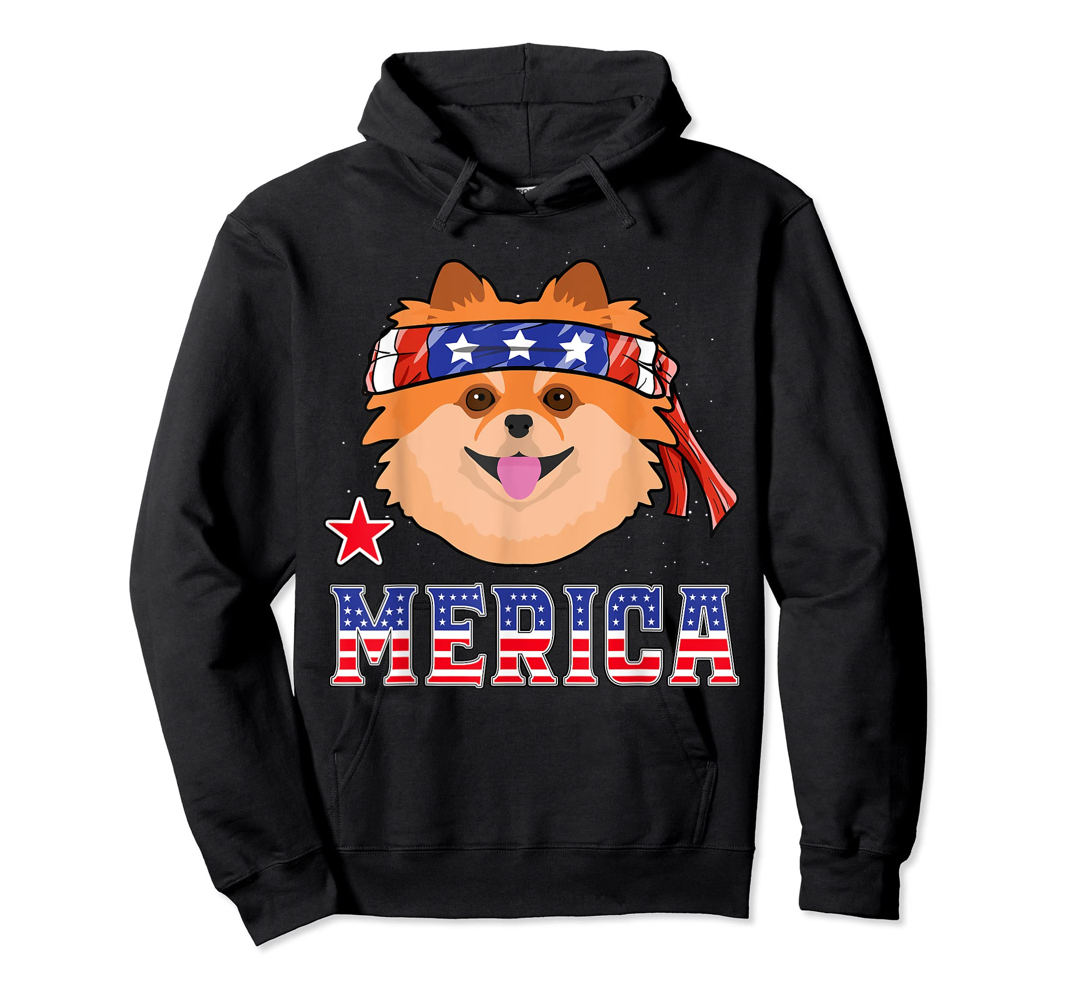 Pomeranian Dog Patriotic American 4th Of July Gift Dogs T-Shirt-Hoodie-Black