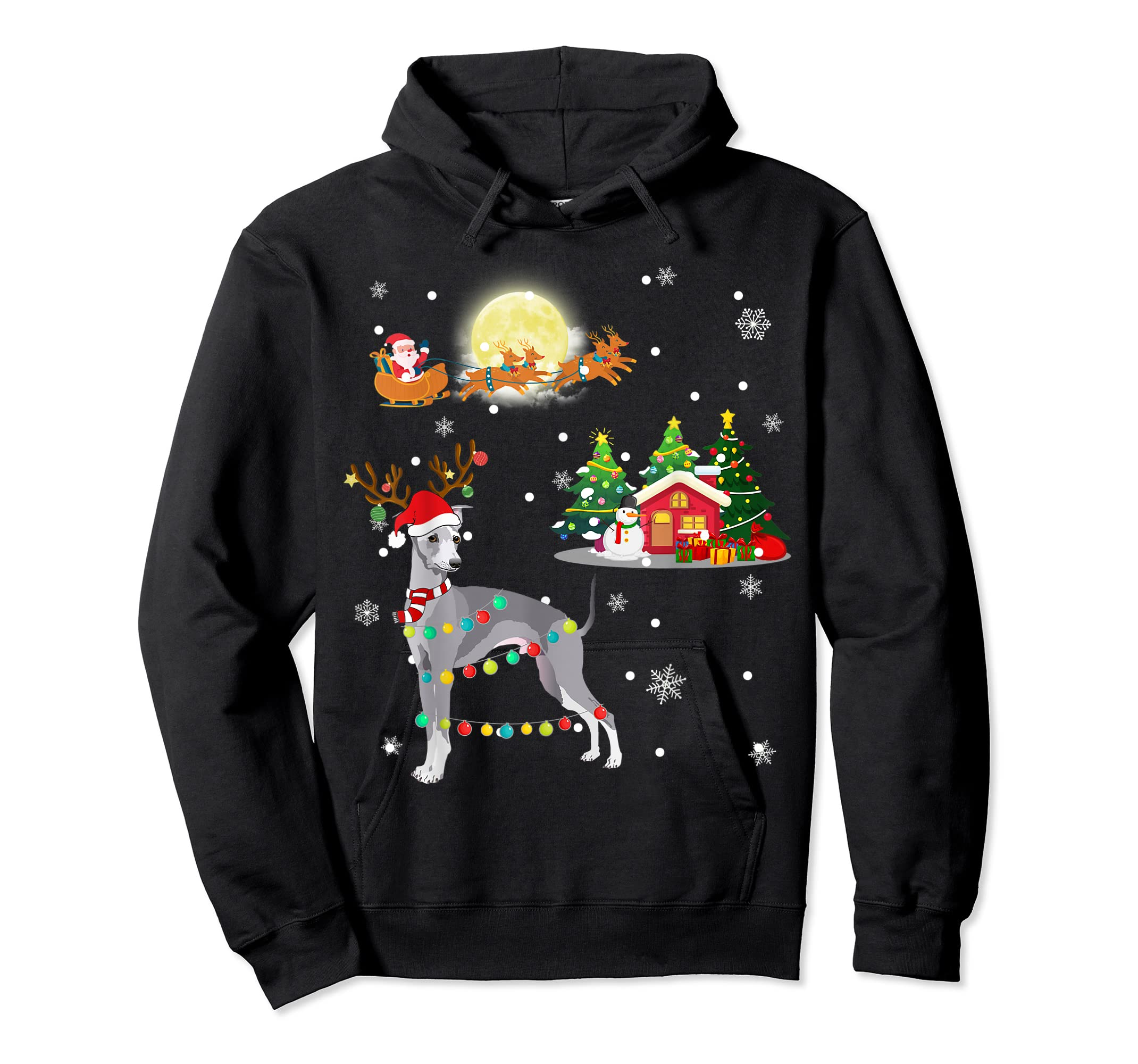 Greyhound Dog Led Light Christmas 2019 Gift T-Shirt-Hoodie-Black
