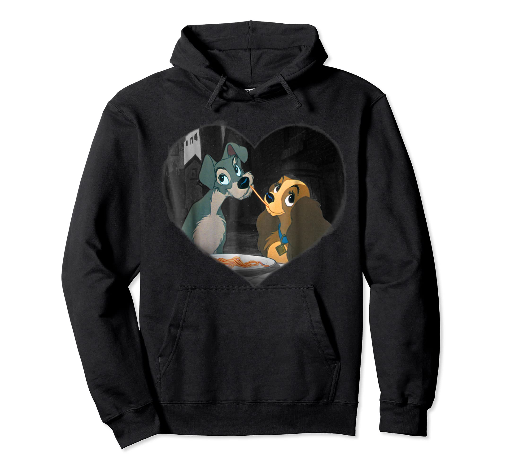 Disney Lady and the Tramp First Kiss T shirt-Hoodie-Black