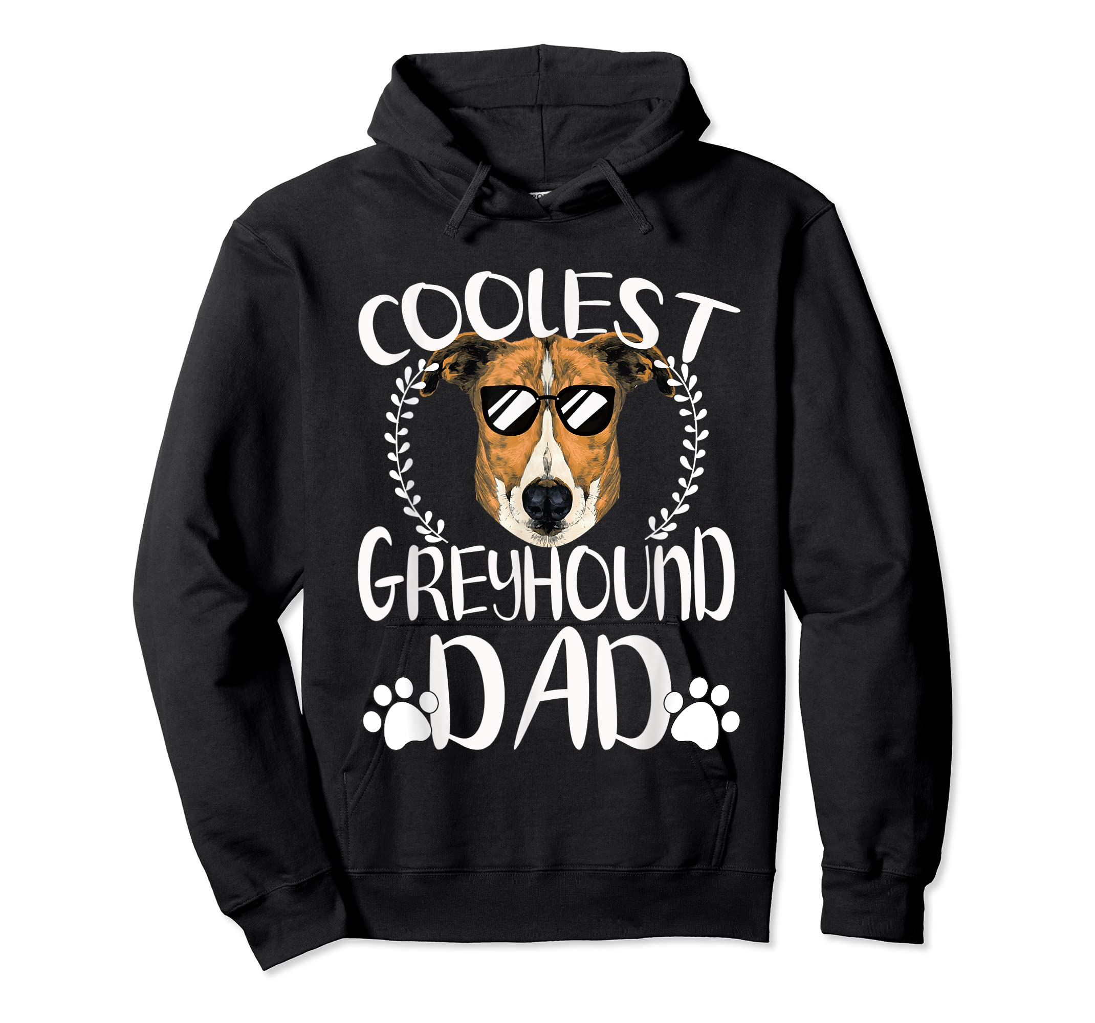Glasses Coolest Greyhound Dog Dad T-Shirt Father's Day Gifts-Hoodie-Black