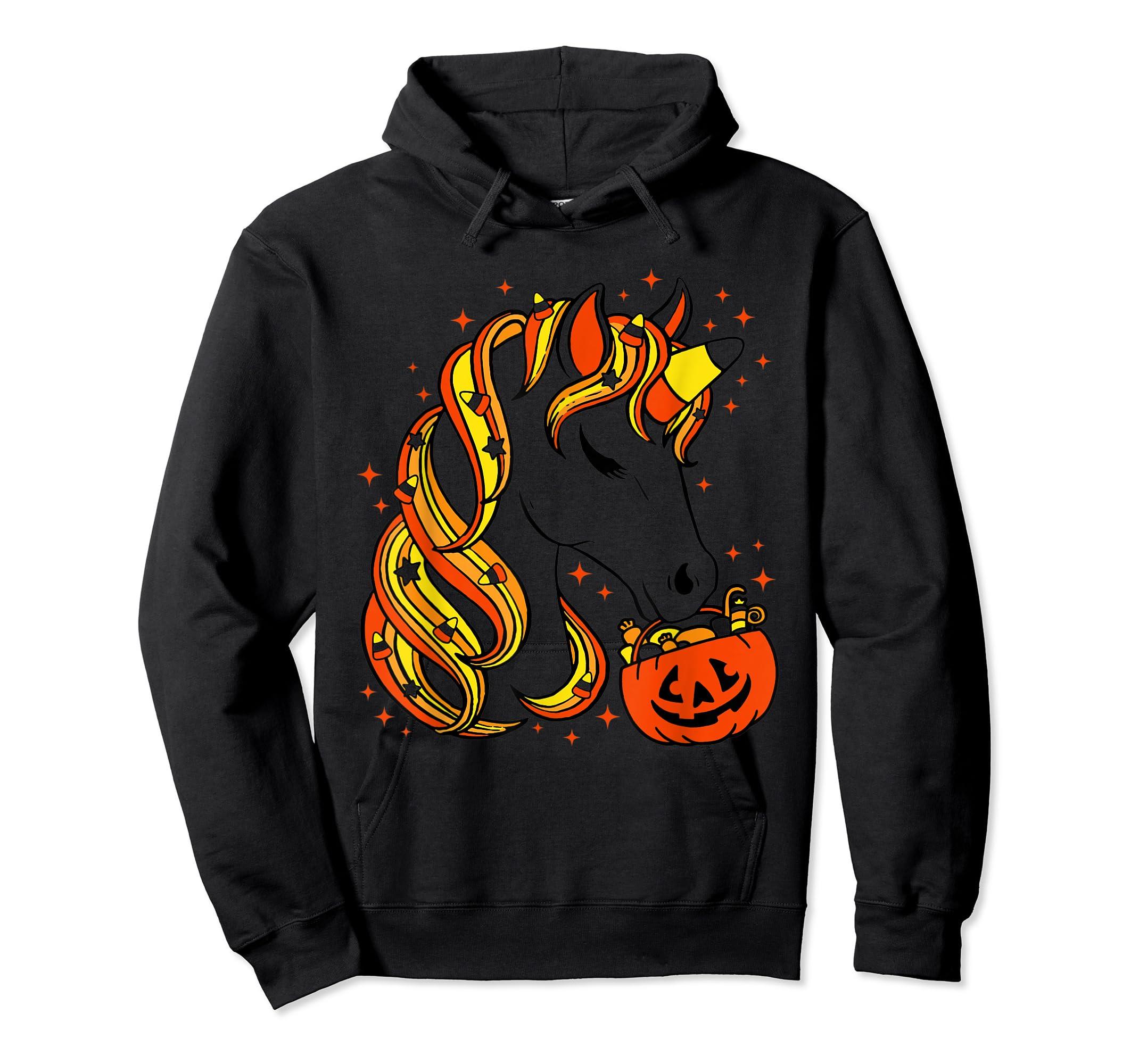 Cute Candy Corn Unicorn Halloween Top T-Shirt-Hoodie-Black