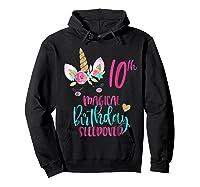 Unicorn 10th Magical Birthday Sleepover Party Girl Shirts Hoodie Black
