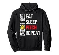 Eat Sleep Pitch Repeat Softball Player Pit Coach Premium T-shirt Hoodie Black