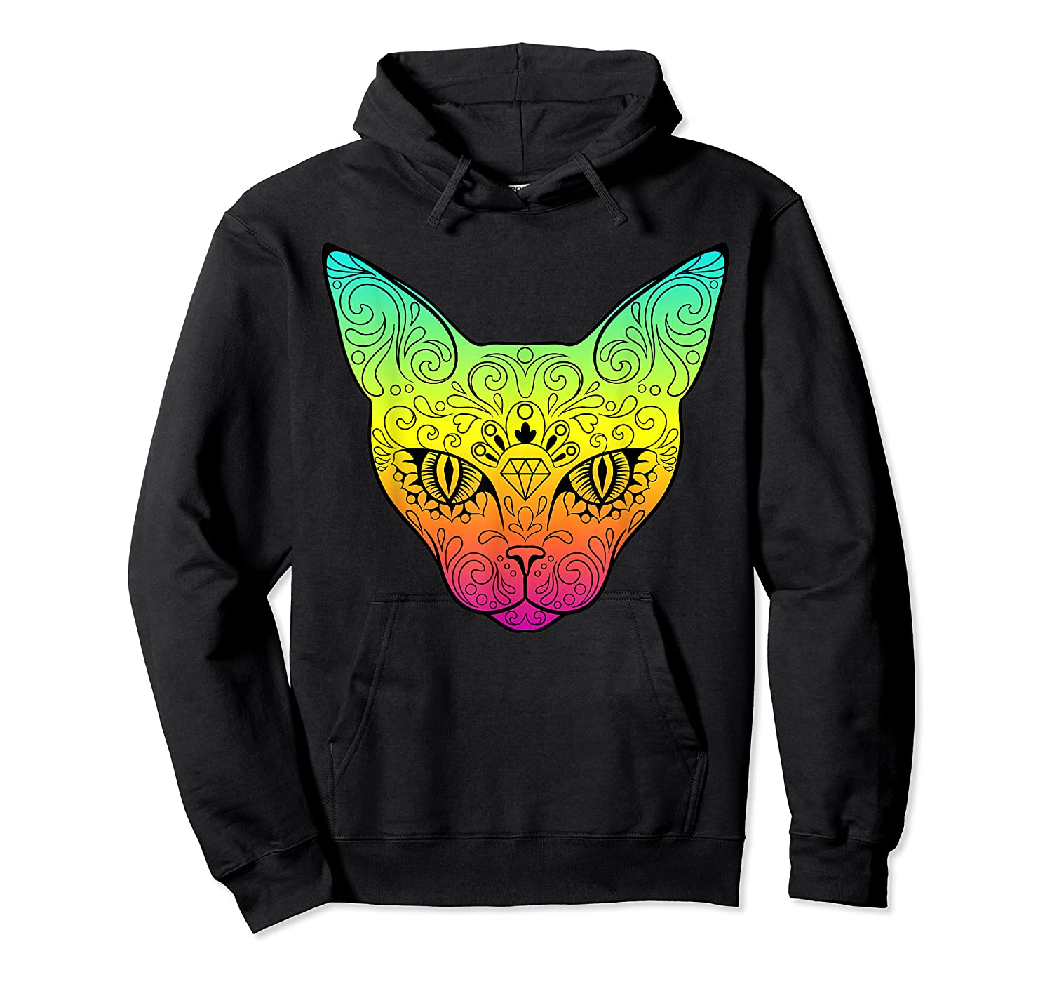 Techno Trance Edm Club Day Of The Dead Cat Sugar Skull Shirts Unisex Pullover Hoodie