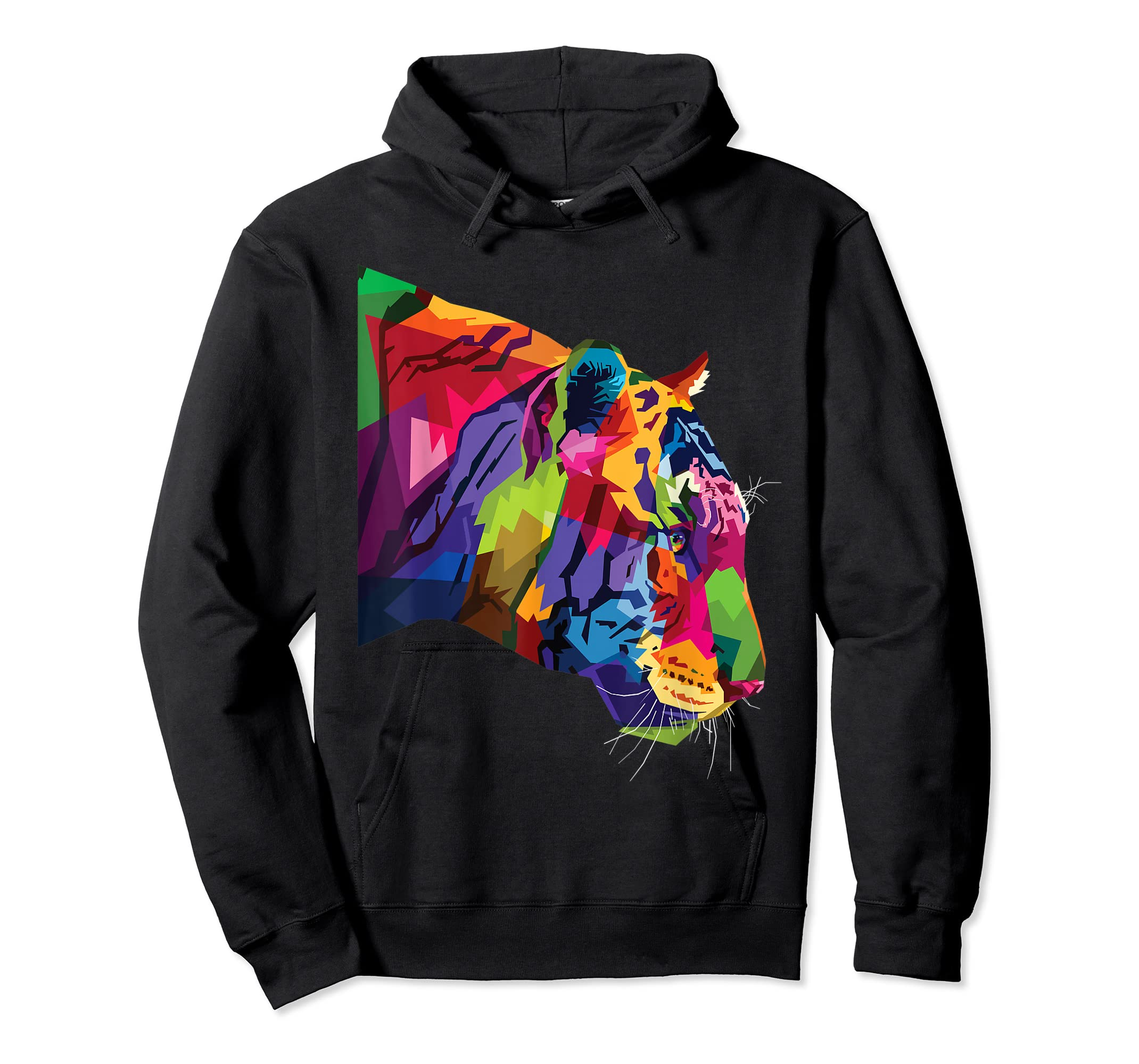 Tiger Shirt : Colorful Tiger's head Pop Art Style T-Shirt-Hoodie-Black