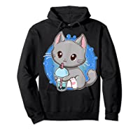Kawaii Japanese Anime Cat Bubble Tea - Neko Kitty T-shirt Hoodie Black