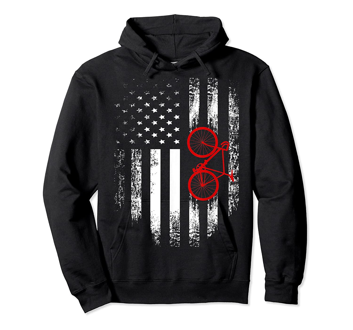 Vintage American Usa Flag Bicycle T-shirt Bicyclist Gift Unisex Pullover Hoodie