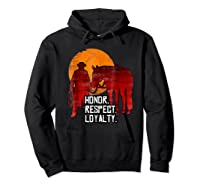 Red Horse Sunset T Shirt Honor Respect Loyalty Cowboy Hoodie Black