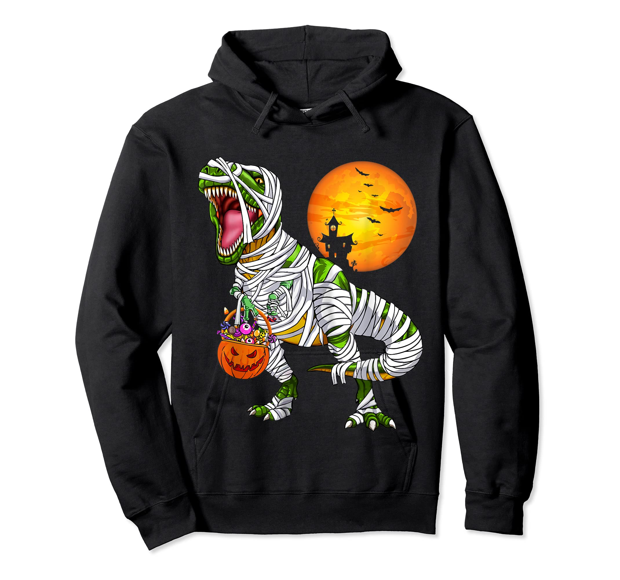 Halloween Gift For Boys Kids Dinosaur T rex Mummy Pumpkin T-Shirt-Hoodie-Black