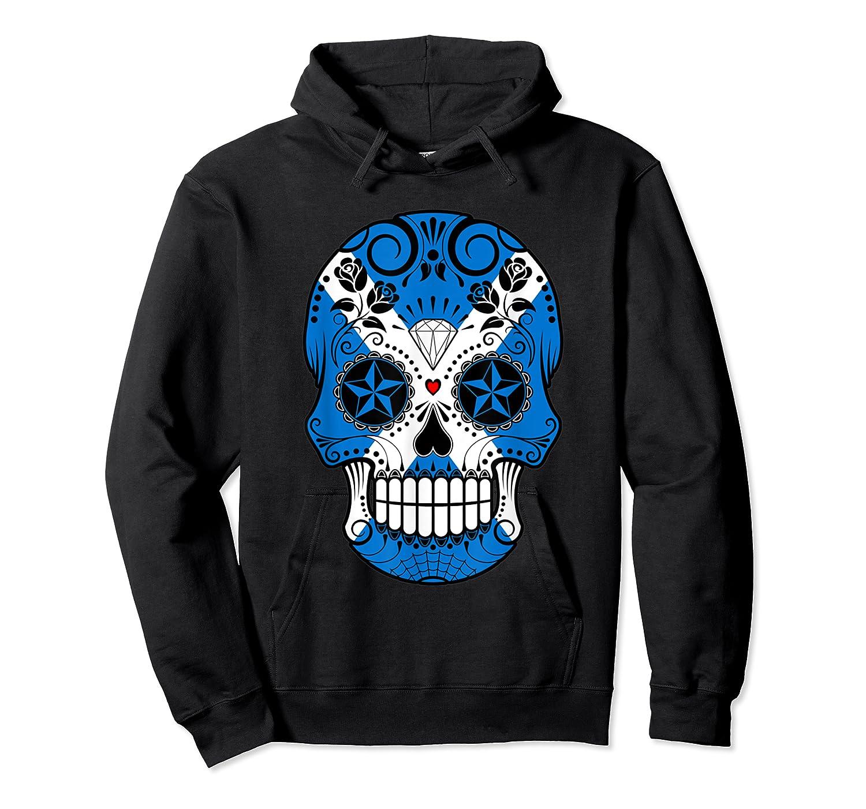 Scottish Flag Sugar Skull Shirts Unisex Pullover Hoodie