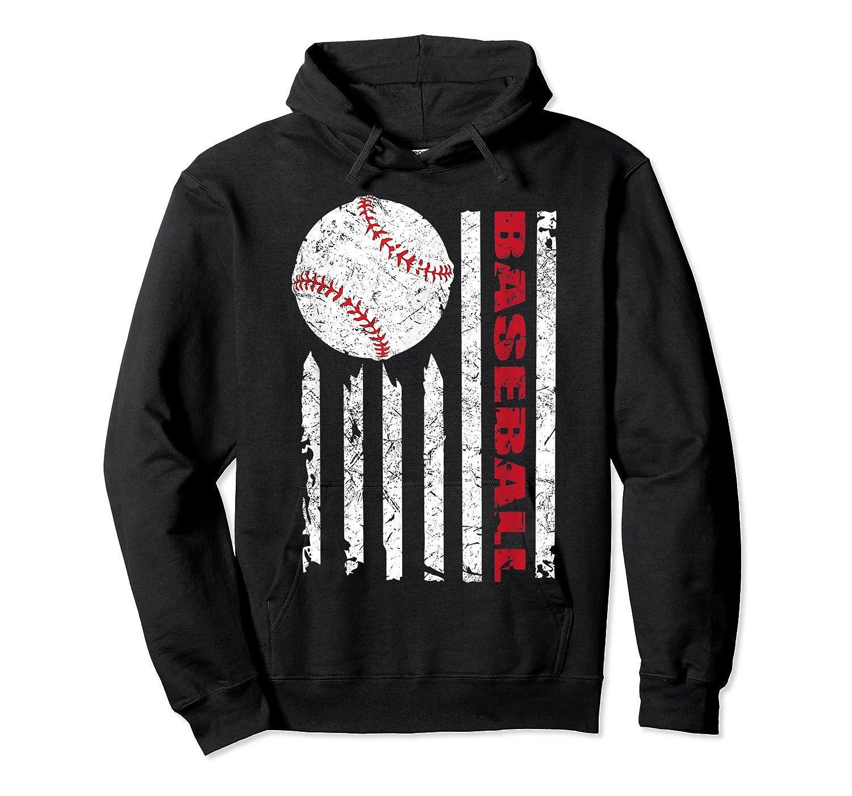 American Flag Baseball | July 4th Usa Flag Patriotic Design T-shirt Unisex Pullover Hoodie