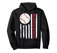 American Flag Baseball | July 4th Usa Flag Patriotic Design T-shirt Hoodie Black