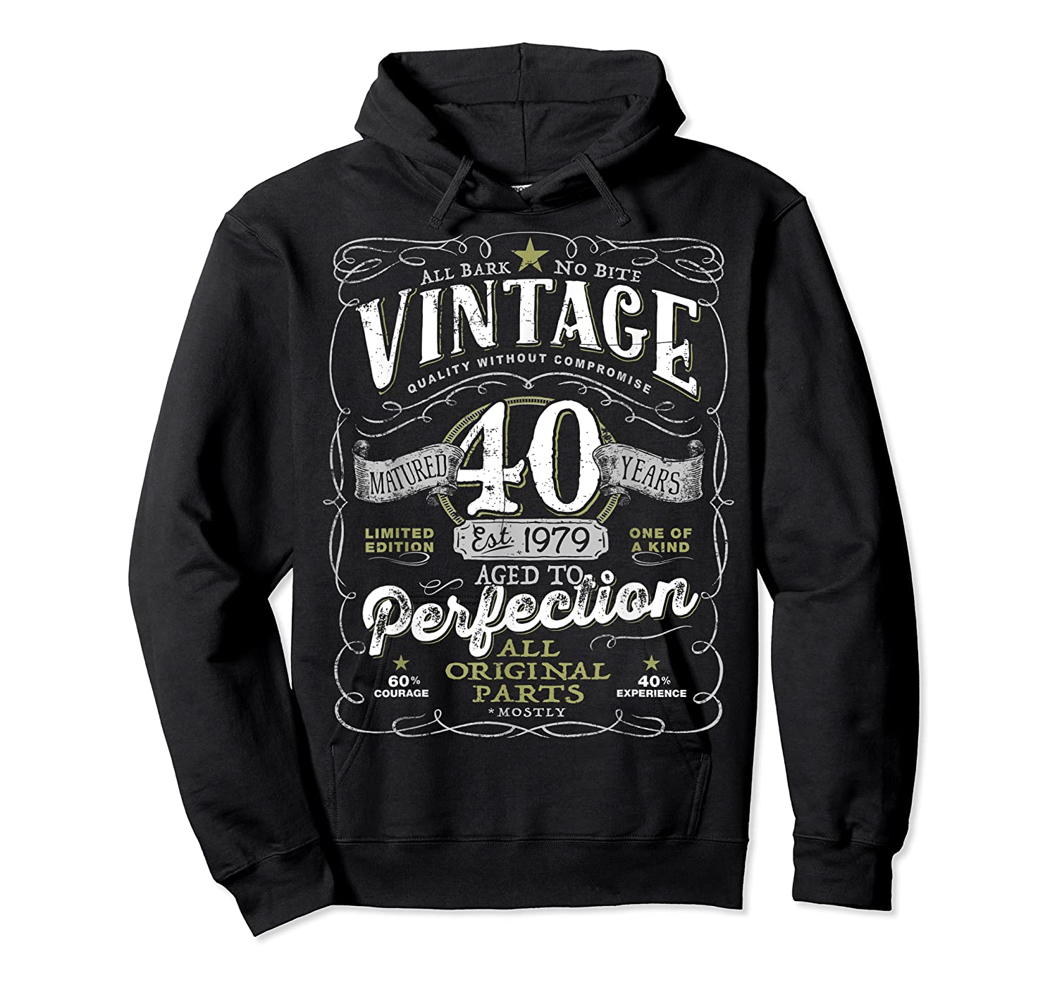 Vintage 40th Birthday Shirt, 1979, Aged To Perfection Unisex Pullover Hoodie