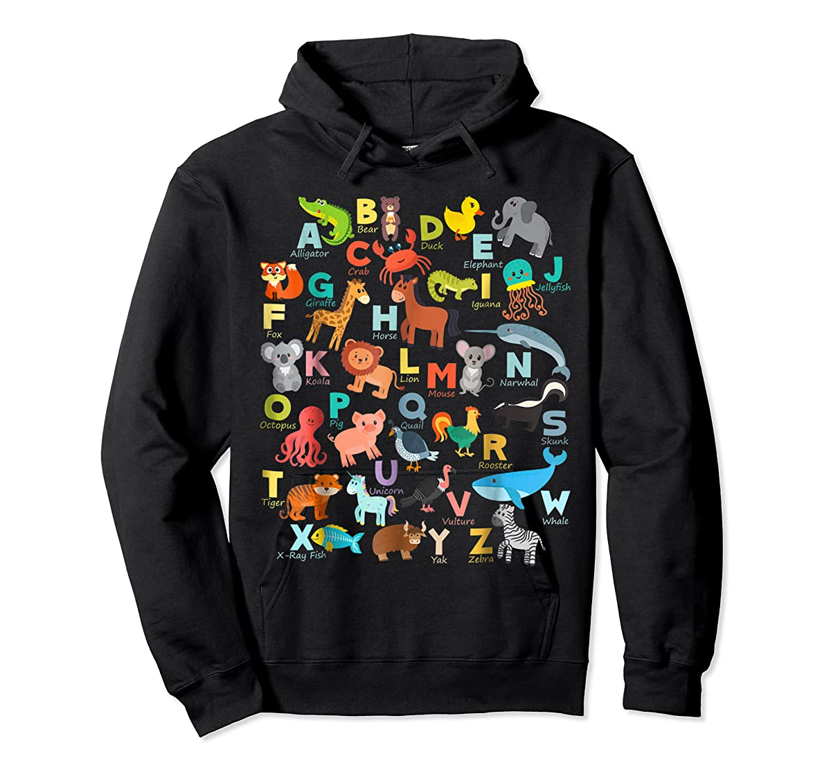 Alphabet Animal ABCs Learning Shirt for boys, girls, adults-Hoodie-Black