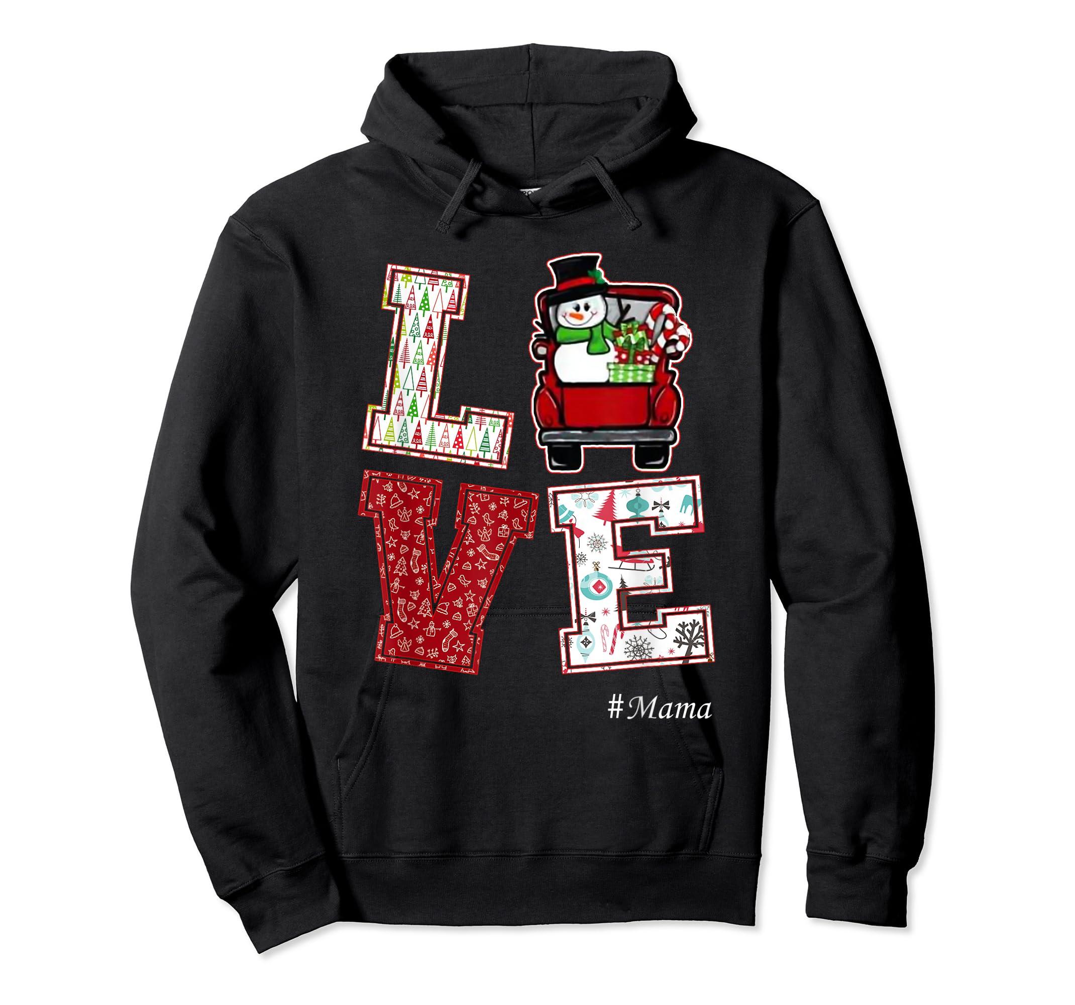 Christmas Love #Mama T-Shirt-Hoodie-Black