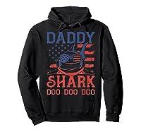 American Flag Daddy Shark Doo Doo Doo 4th Of July Shirts Hoodie Black