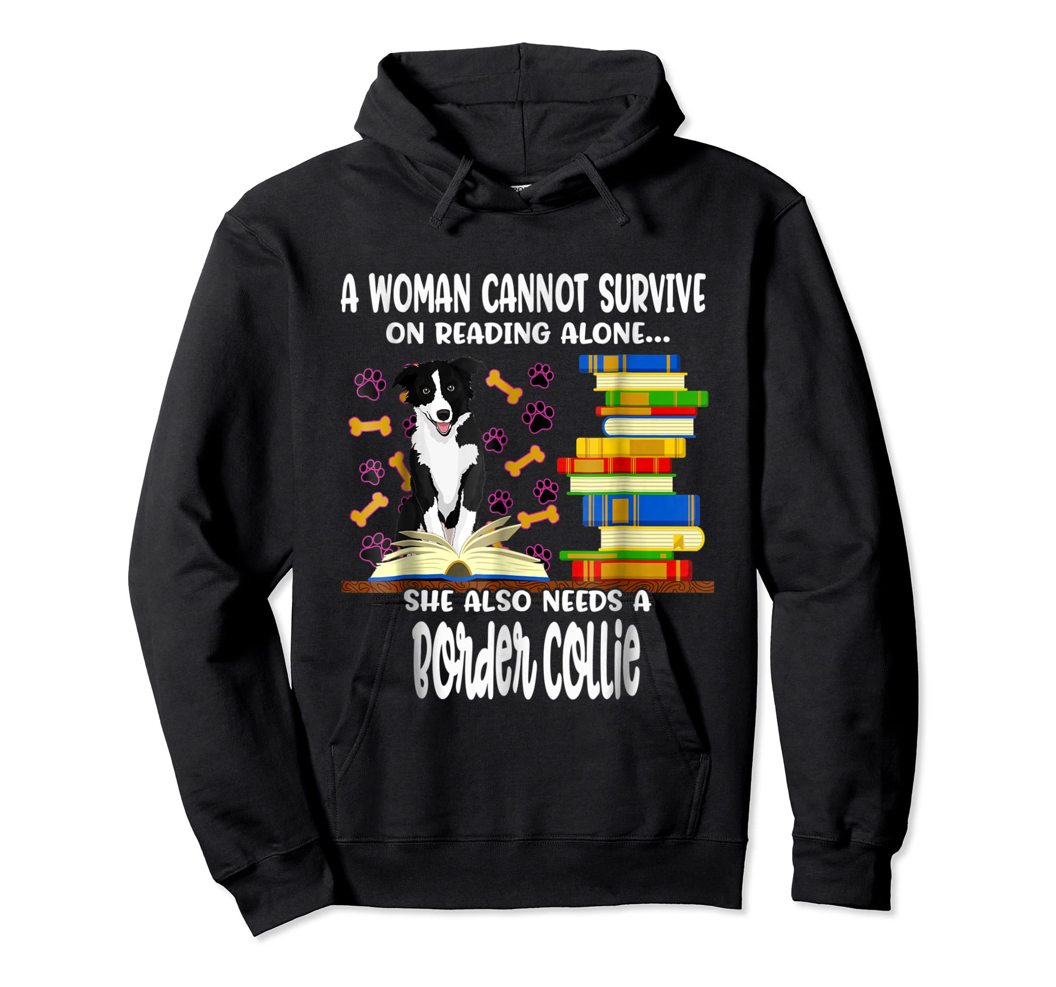 A Woman Reading Book Dog Border Collie Shirt-Hoodie-Black