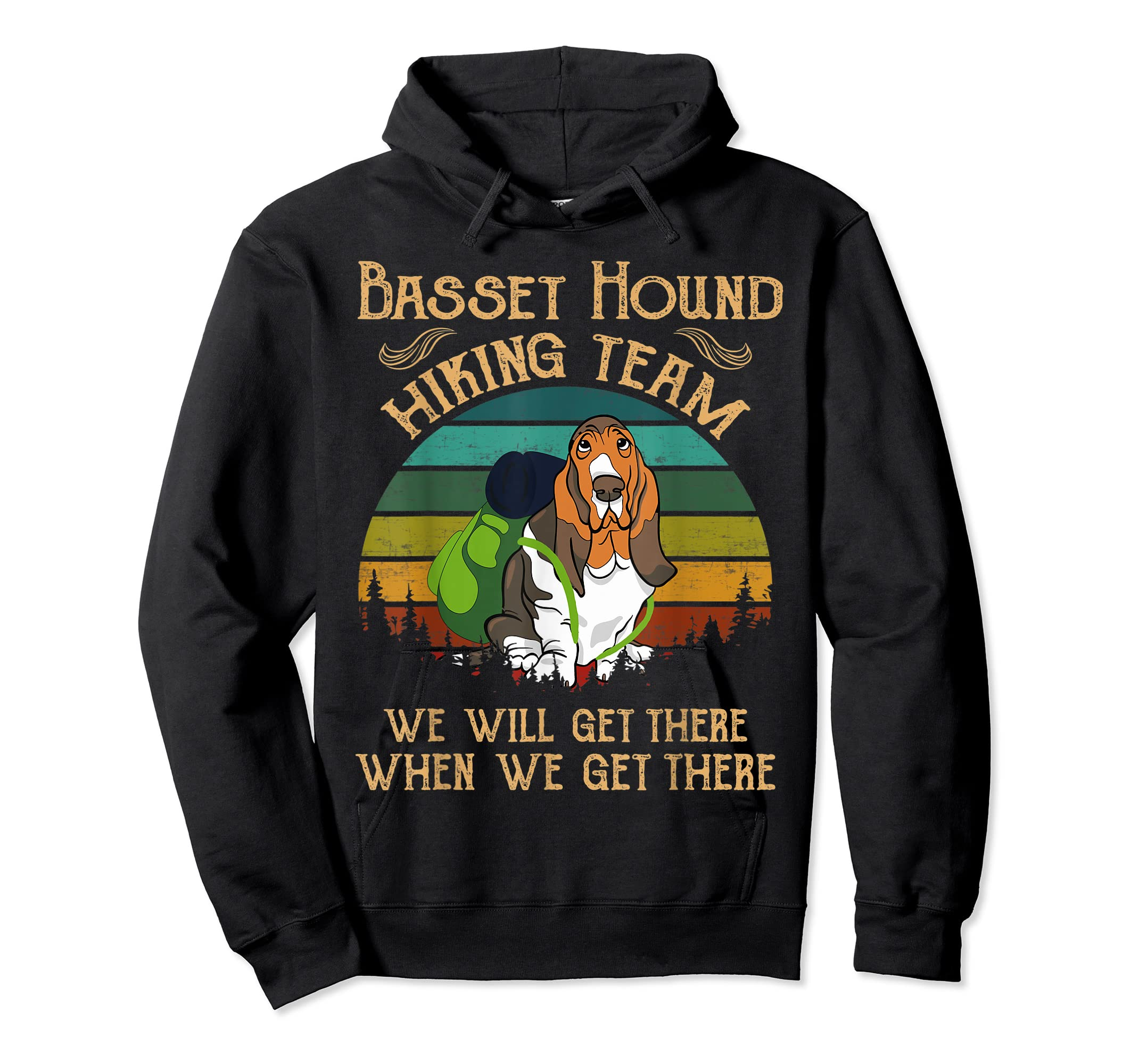 Basset Hound Hiking Team We Will Get There Vintage T-shirt-Hoodie-Black