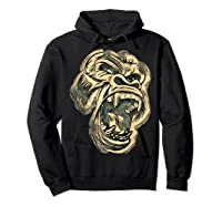 Angry Great Ape Art T-shirt Fierce Silverback Gorilla Face Hoodie Black