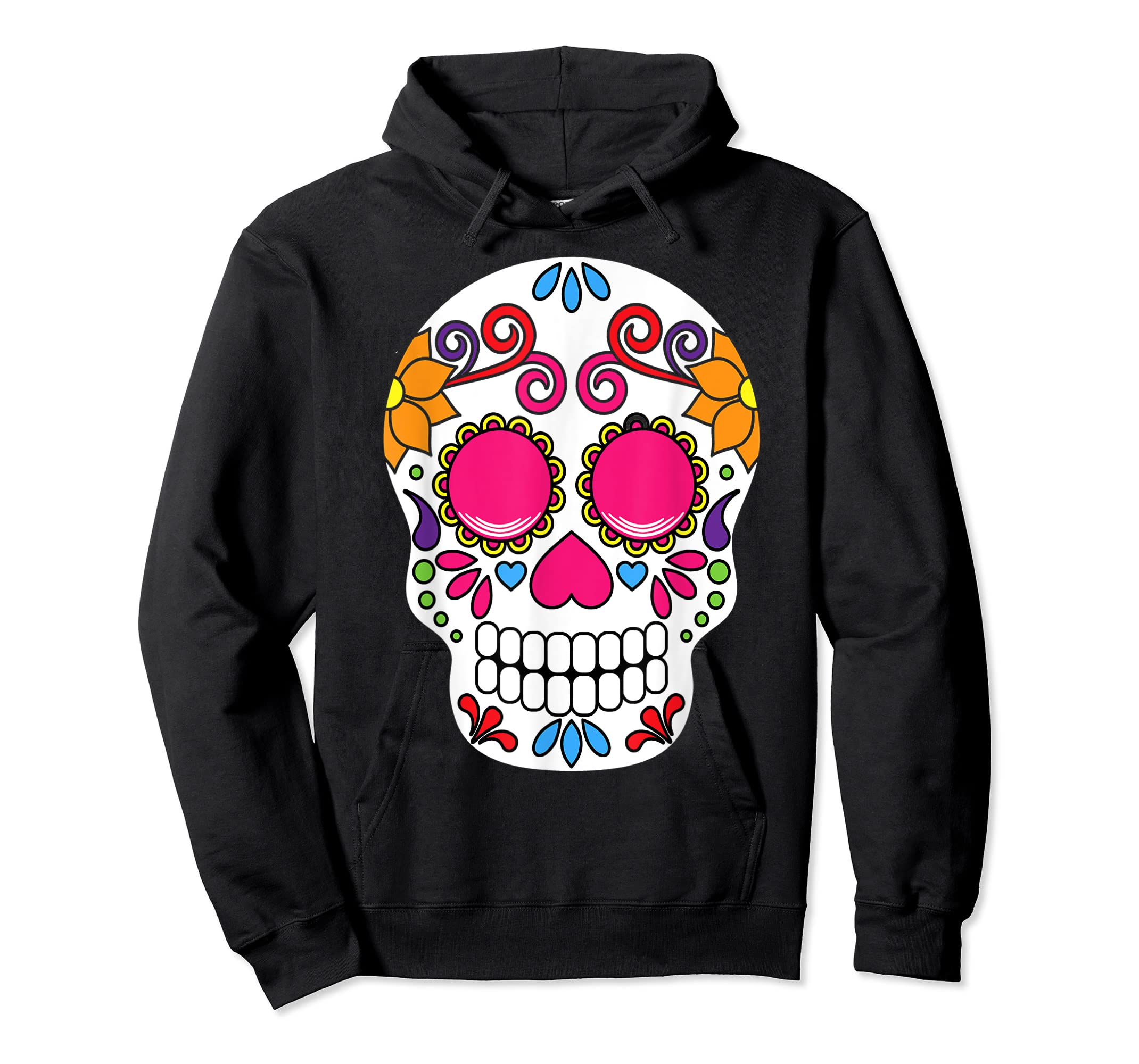 Colorful Day Of The Dead Sugar Skull Halloween T-shirt-Hoodie-Black