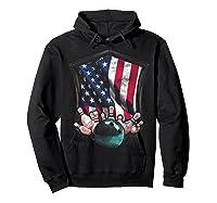Vintage Bowling T Shirt American Usa Flag Bowling T-shirt Hoodie Black