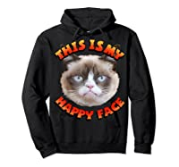 Grumpy Cat This Is My Happy Face Graphic Shirts Hoodie Black