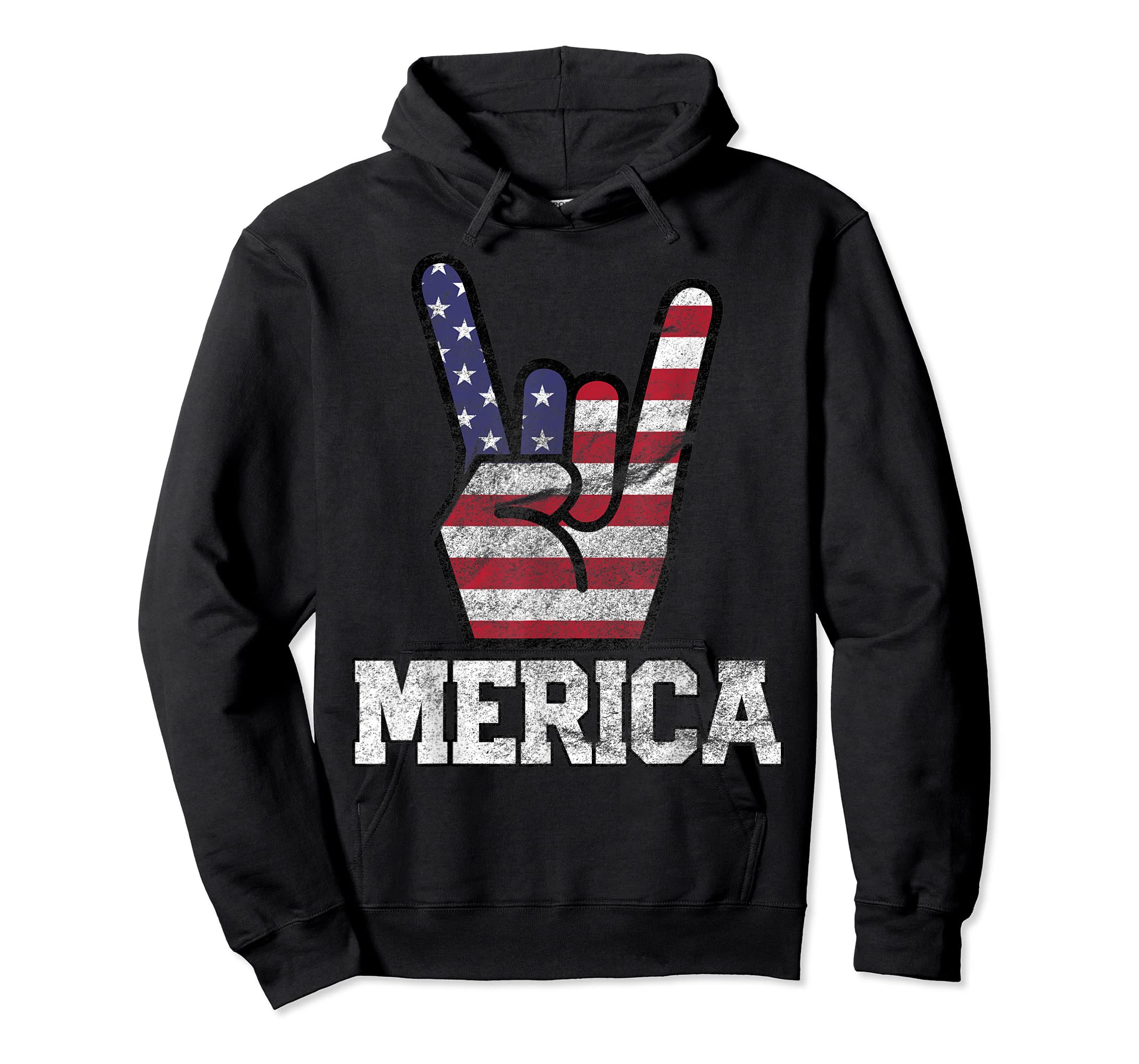Merica Rock Sign 4th of July Vintage American Flag Retro USA T-Shirt-Hoodie-Black