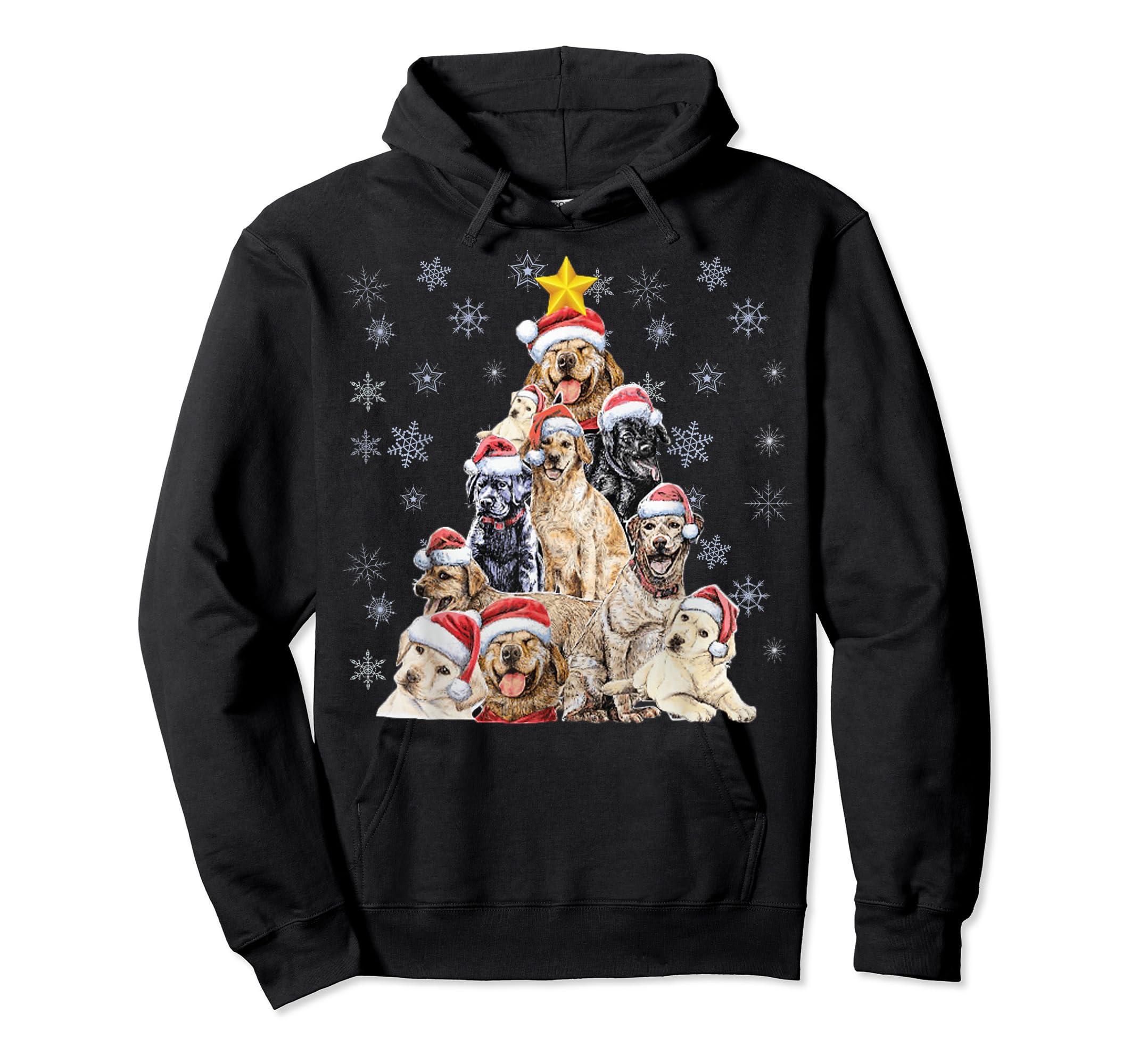 Labrador Retriever Dog Christmas Funny T-Shirt-Hoodie-Black