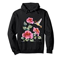 Hummingbird With Roses T For Shirts Hoodie Black