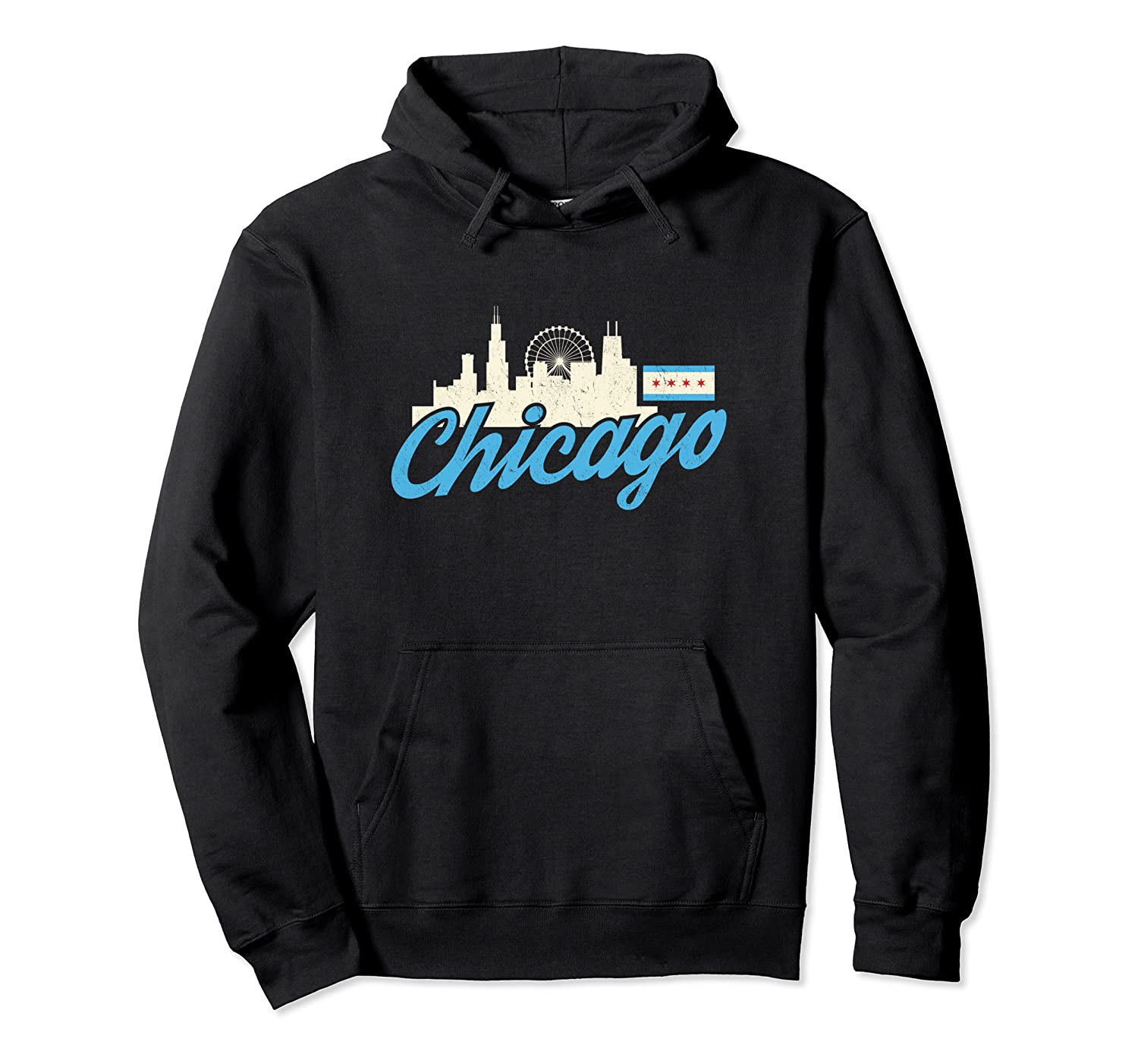 Chicago Illinois Skyline Flag Shirt Il City Gift T Shirt Unisex Pullover Hoodie