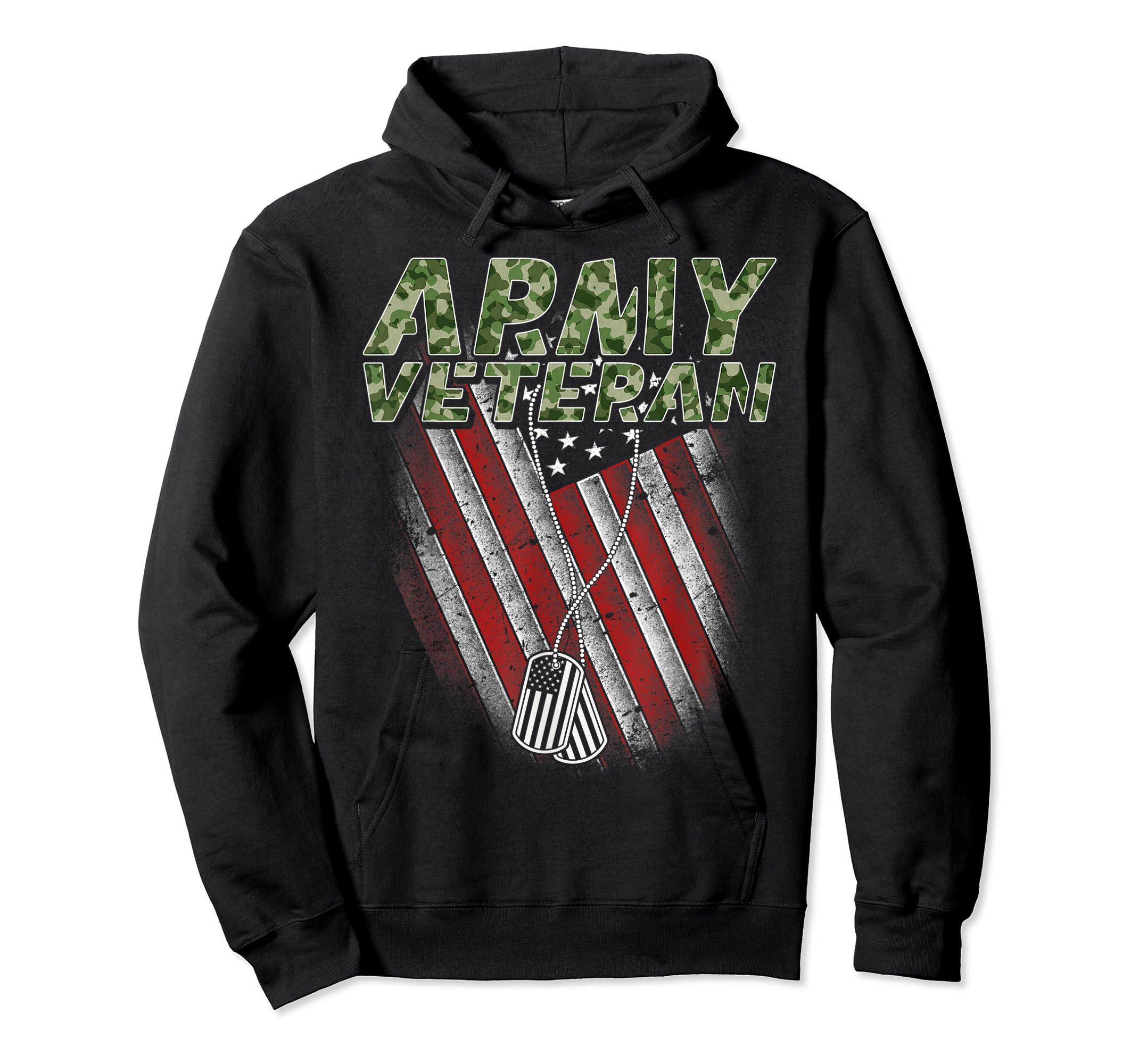 Army Veteran American Flag Camo Proud US Christmas Gifts T-Shirt-Hoodie-Black