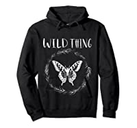 Wild Thing Butterfly Floral Wht Shirts Hoodie Black