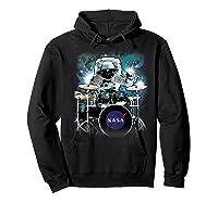 Nasa Space Drum Playing Astronaut Premium Graphic T-shirt Hoodie Black