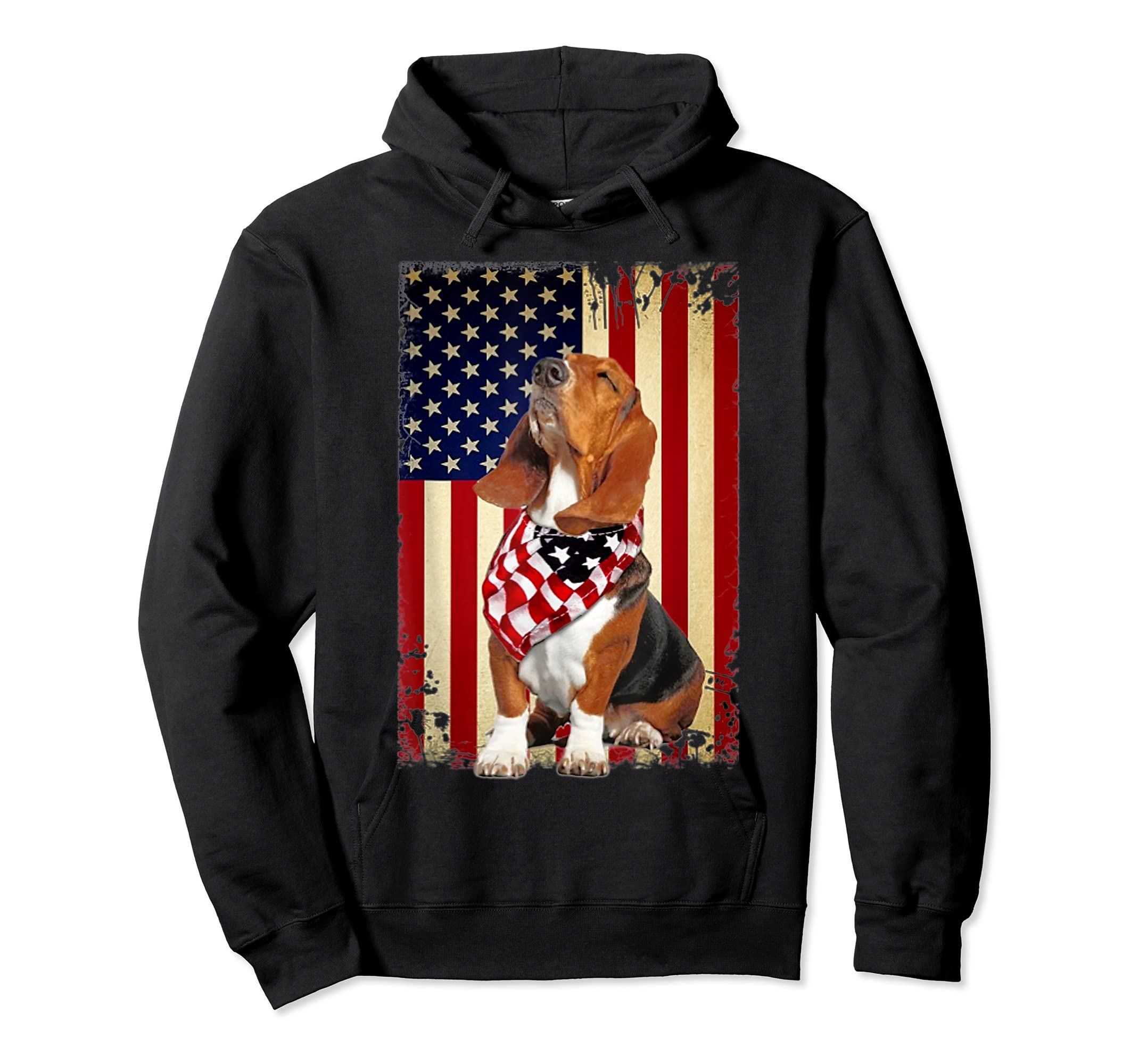 Basset hound smile flag American t-shirt Independence 4th of-Hoodie-Black