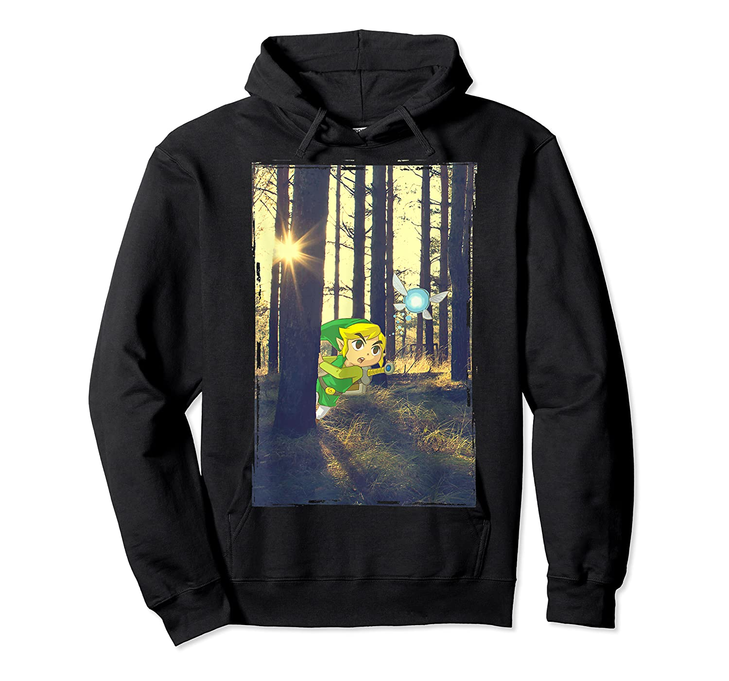 Nintendo Zelda Link And Navi Photo Real Forest Scene Shirts Unisex Pullover Hoodie